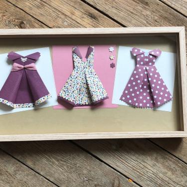 Mon dressing - Tableau de 3 robes en origami 39€ , texte personnalisable 5 euros