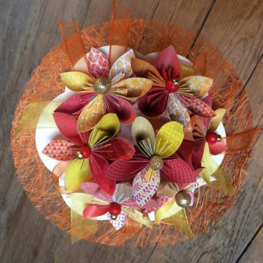 Flamboyance - Bouquet de fleurs en origami (sur demande 40 à 60€)